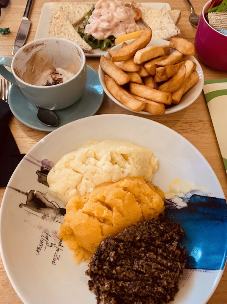 Haggis neeps and tatties Quins Restaurant Galashiels.