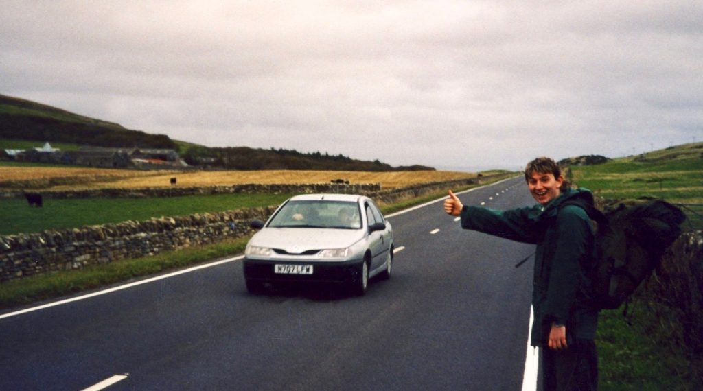 Hitchhiking in Orkney Scotland.
