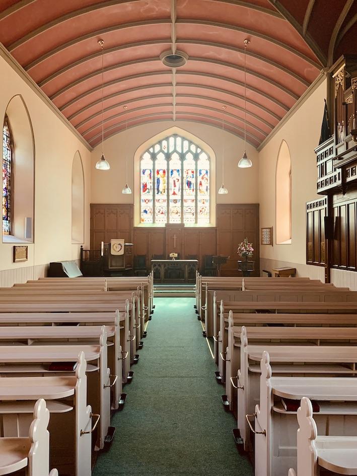 Inside Stenton Parish Church Scotland.