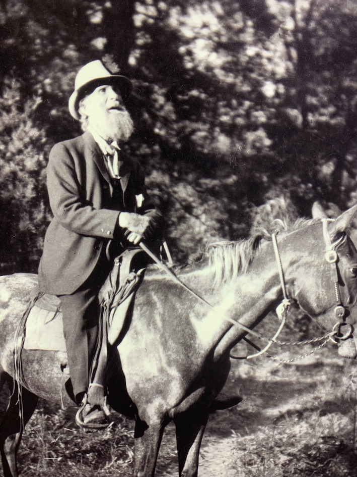 John Muir on horseback black and white photograph.
