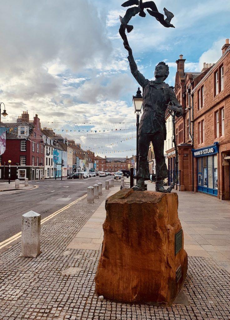 John Muir statue High Street Dunbar Scotland.