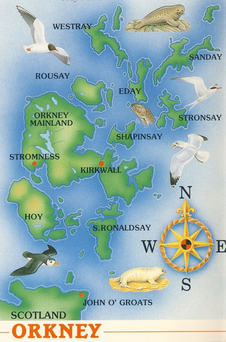 Postcard map of The Orkney Islands Scotland.