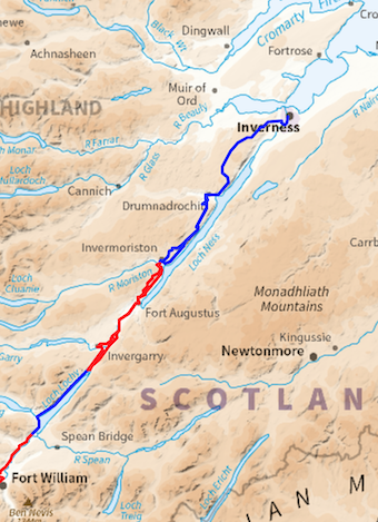 The Great Glen Way hiking route.