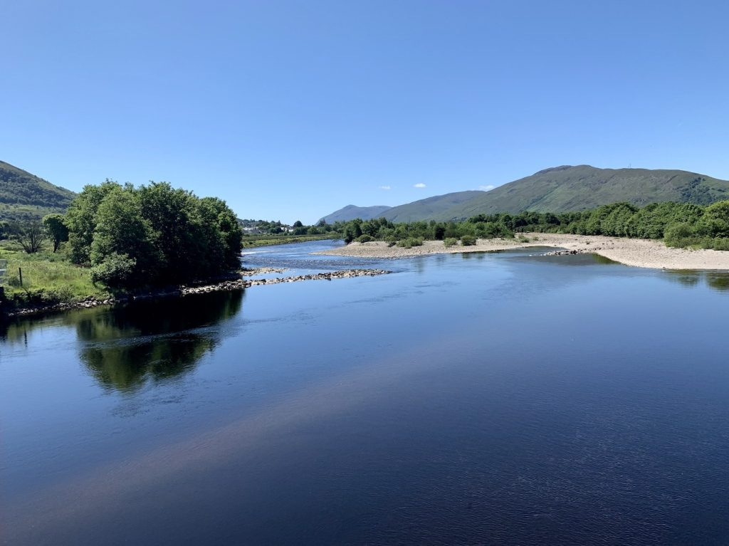 The view across The River Lochy from Soldiers Bridge Fort William.