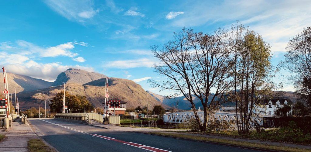 View of Ben Nevis from Banavie Scotland.