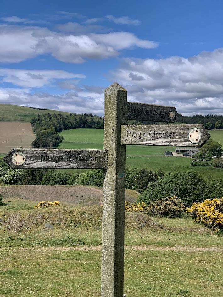 Wooden signpost Meigle Circular Scotland.