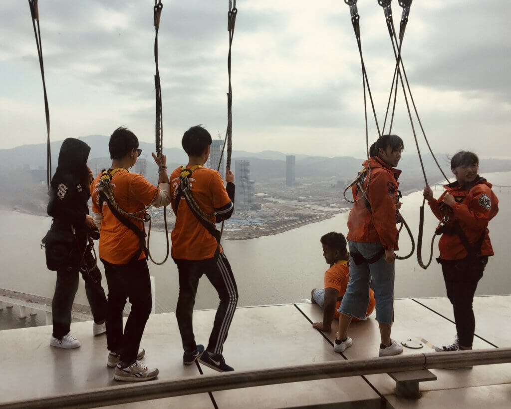 Bungee jumping Macau Tower.
