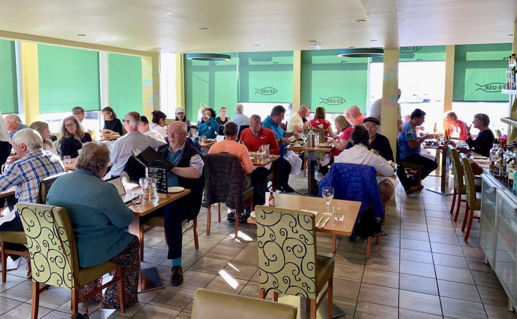 Inside Ee-usk Seafood Restaurant Oban.