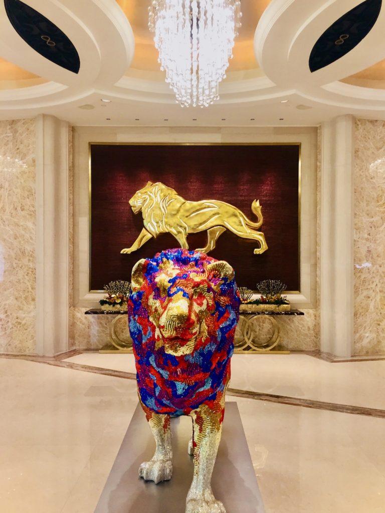 Lion sculpture MGM Hotel & Casino Macau.