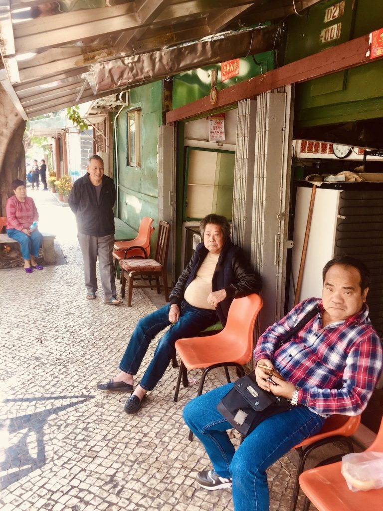 Locals chilling Coloane Village Macau.
