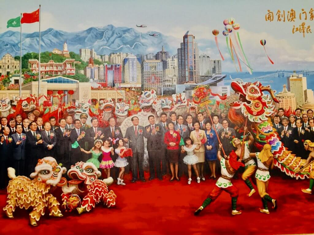 Macau handover to China painting Macau Tower.