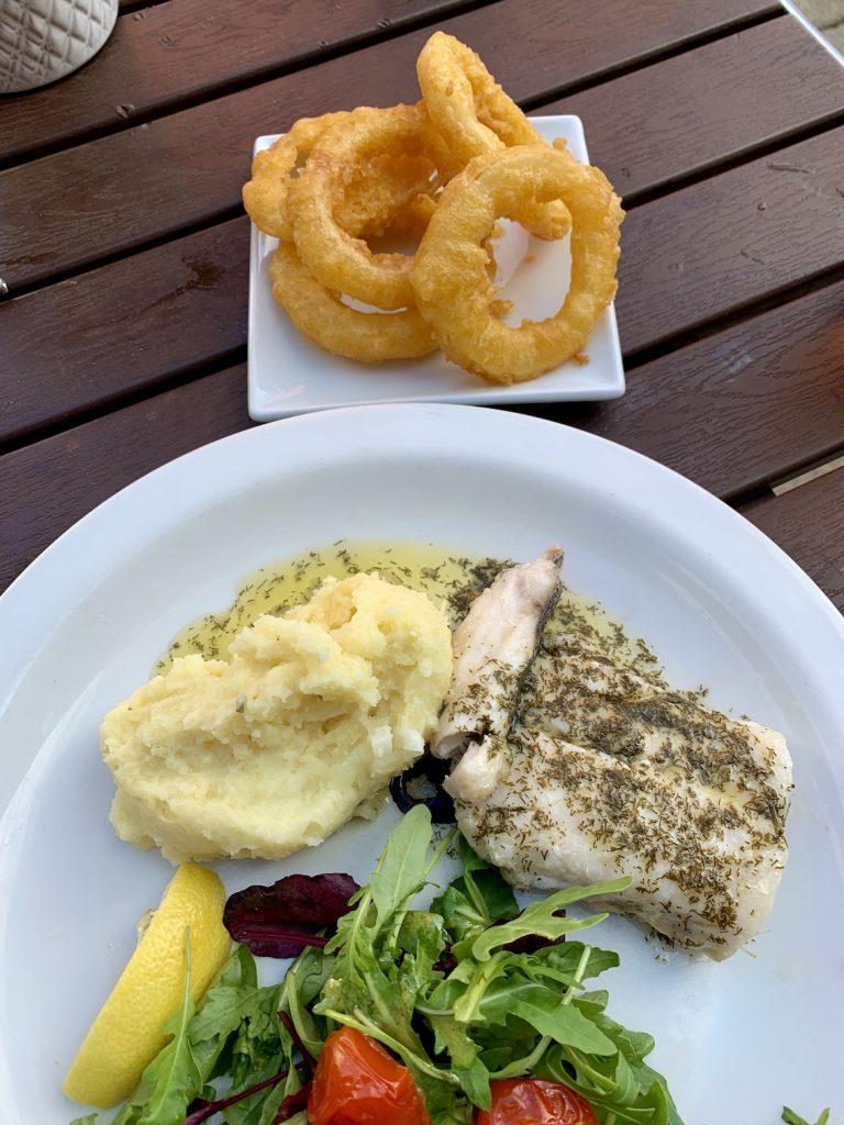 Oven Baked Hake and Mash Ee-usk Seafood Restaurant Oban.