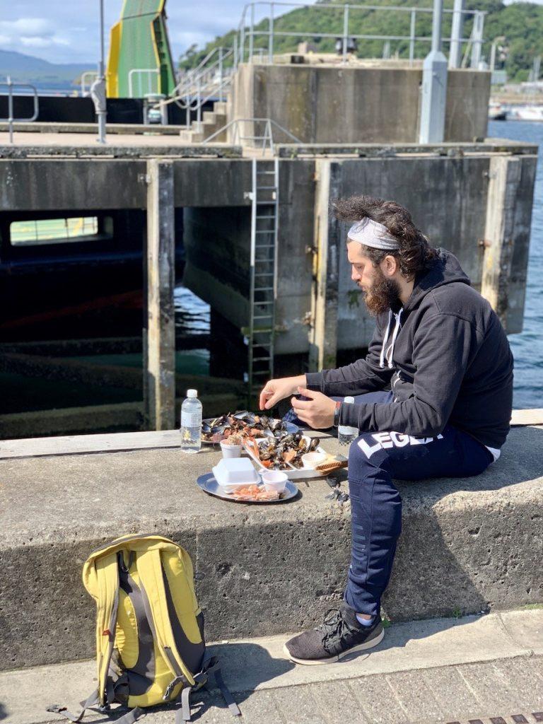 Seafood platter Calmac Pier Oban.