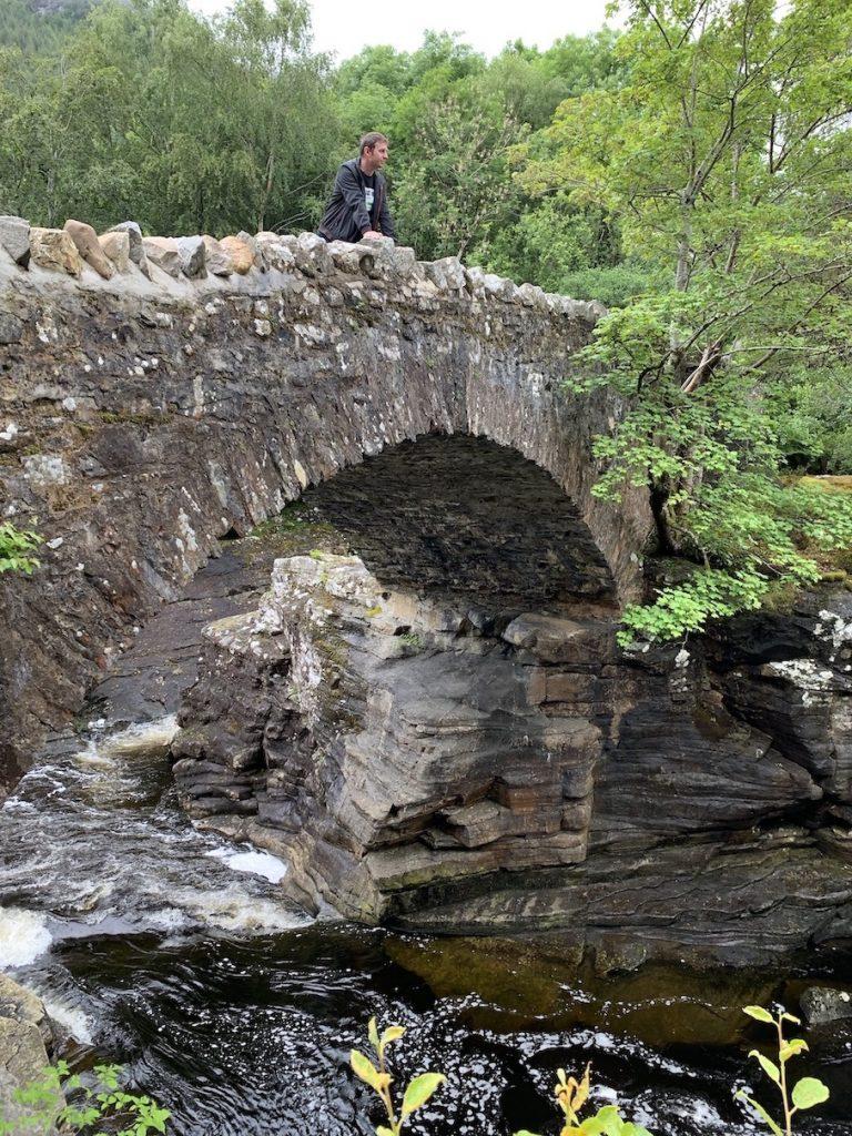 Crossing Invermoriston Old Bridge Scotland