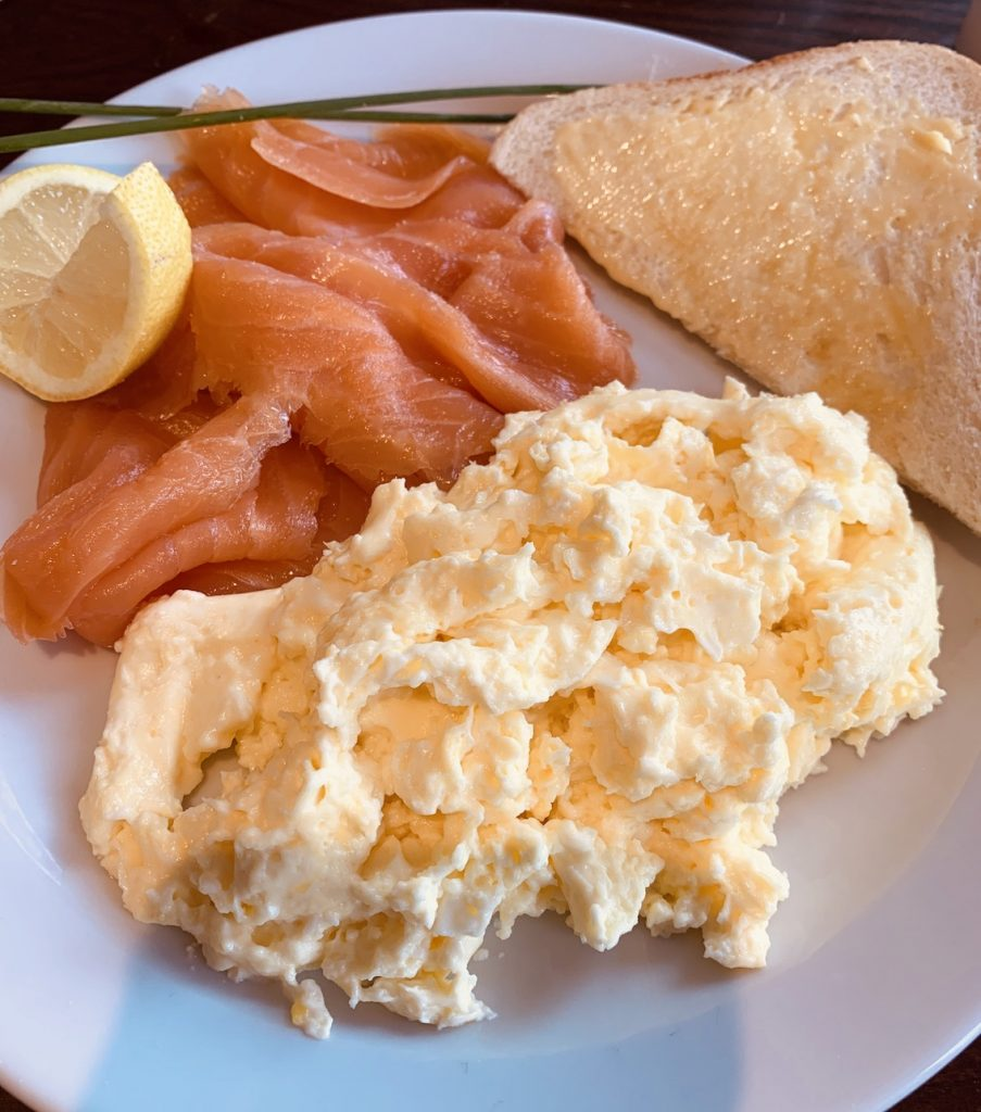 Smoked salmon and scrambled eggs Cobbs Cafe Fort Augustus