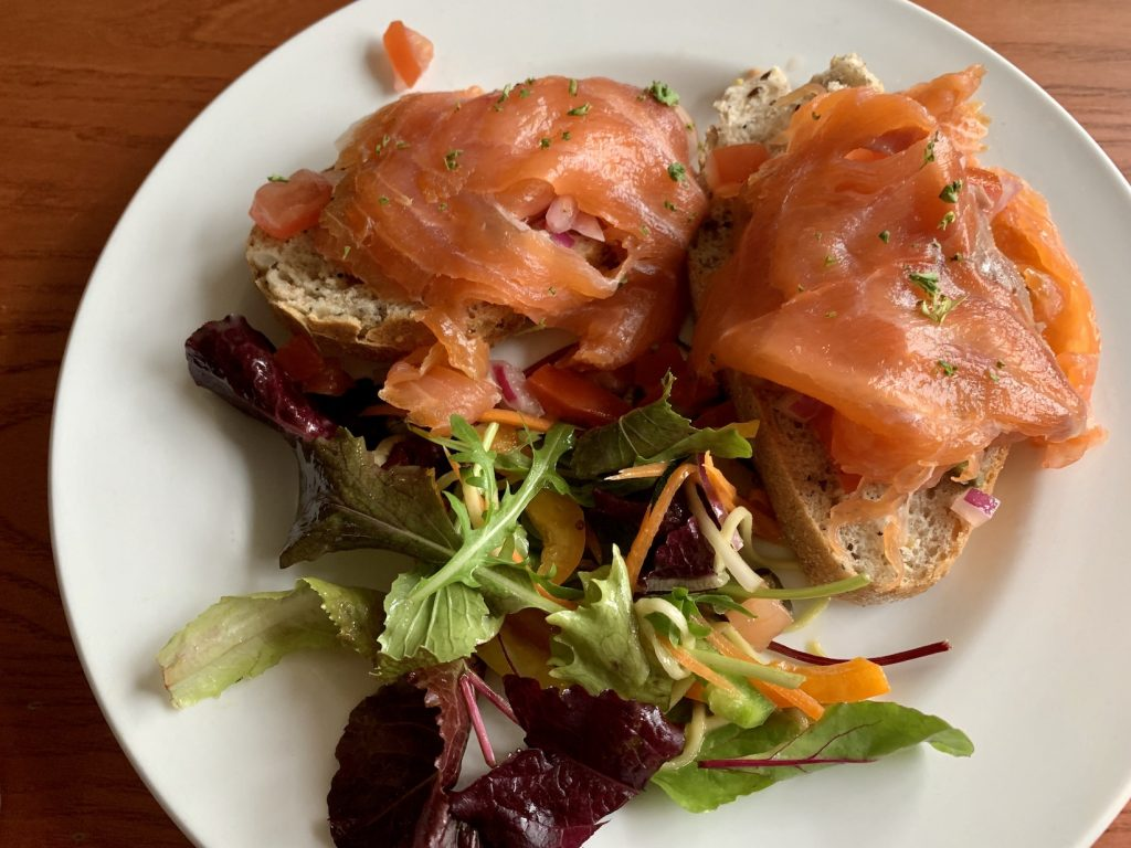 Smoked salmon salad Loch Ness Inn Drumnadrochit.