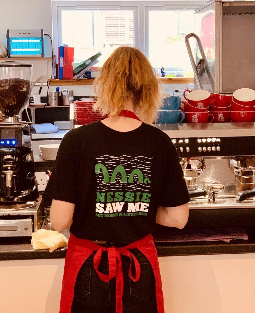 Waitress Cobbs Cafe Fort Augustus Loch Ness.