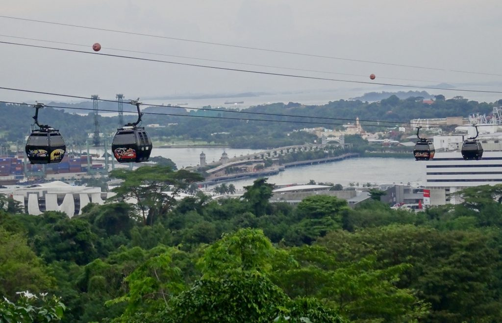 Cable cars over Mount Faber Singapore.
