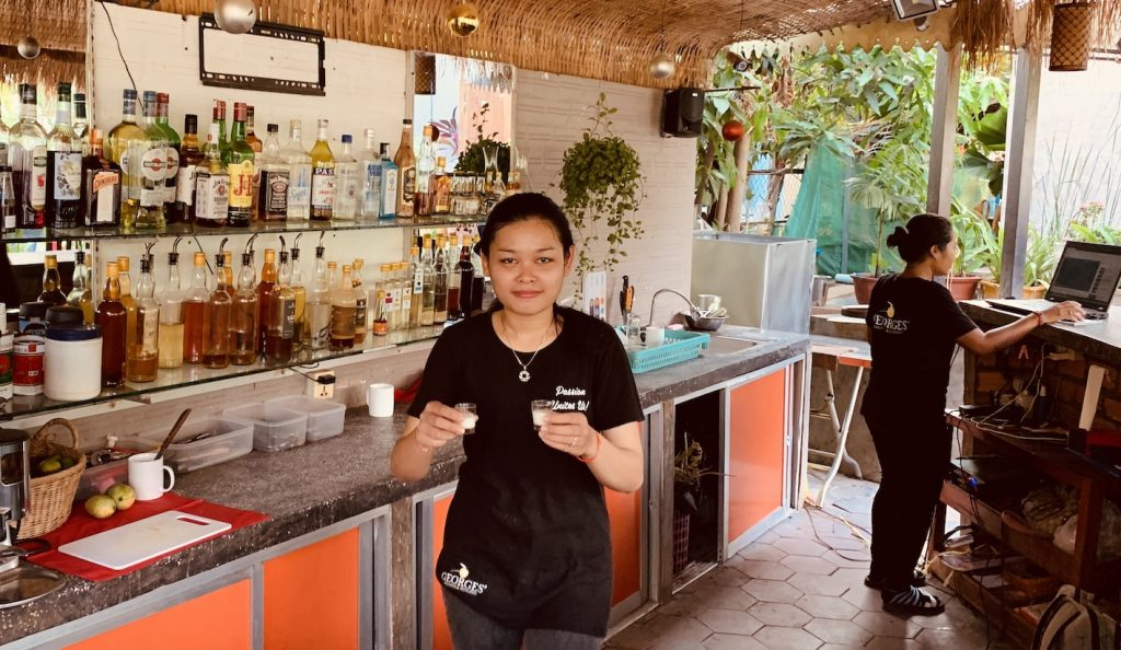 Complimentary shot of coconut rum George Restaurant and Distillery Siem Reap