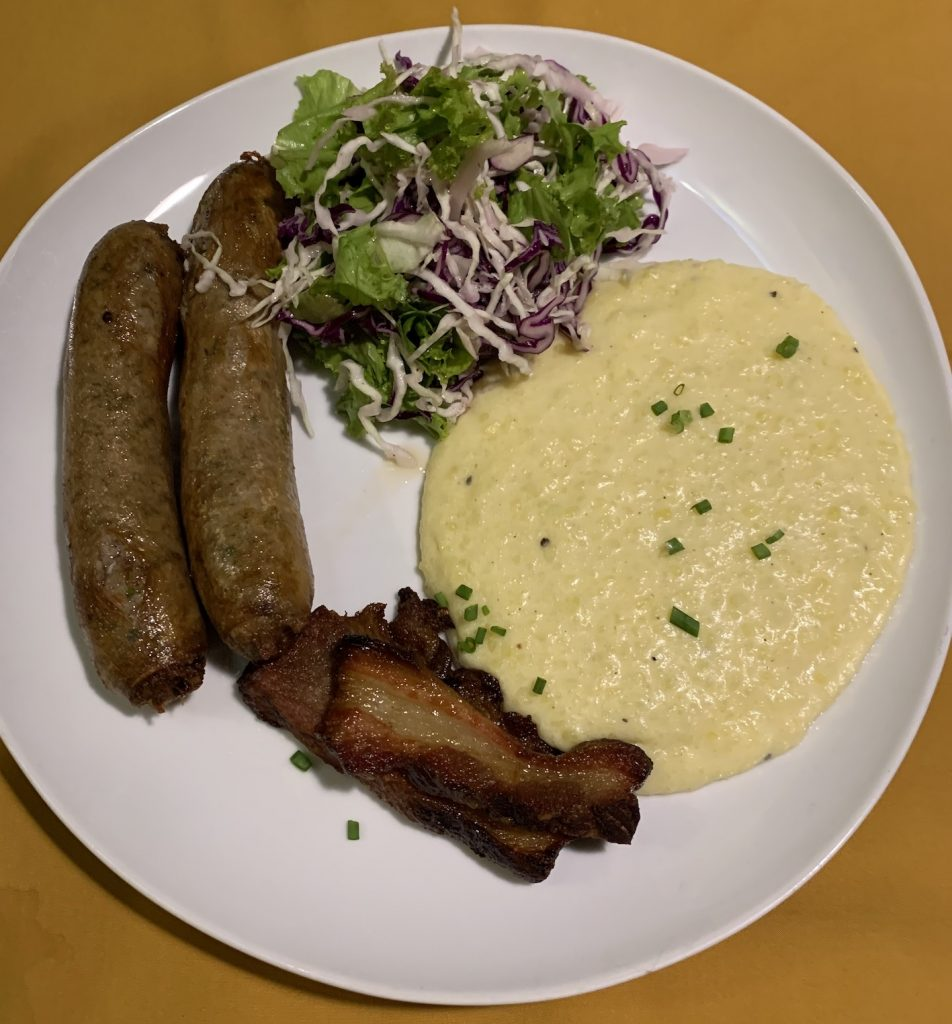 Craft sausages with mash and bacon Georges Restaurant Siem Reap