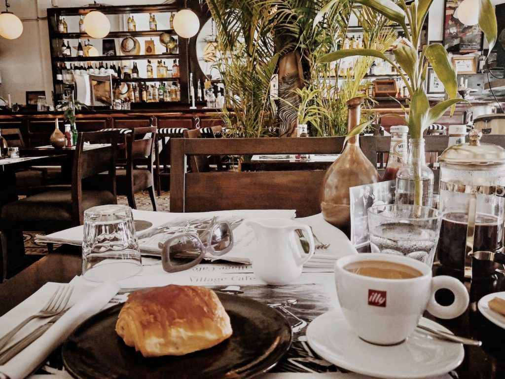 Filter coffee and Chocolate Croissant The Village Cafe Siem Reap