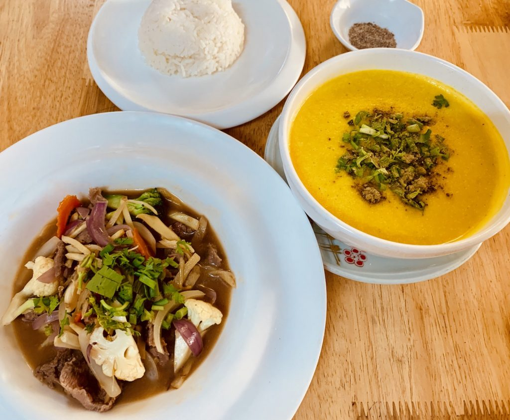 Ginger beef and Pumpkin Soup Tevy's Place Siem Reap
