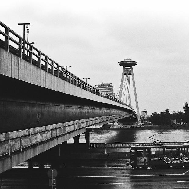 Novy Most Bridge and UFO tower Bratislava.