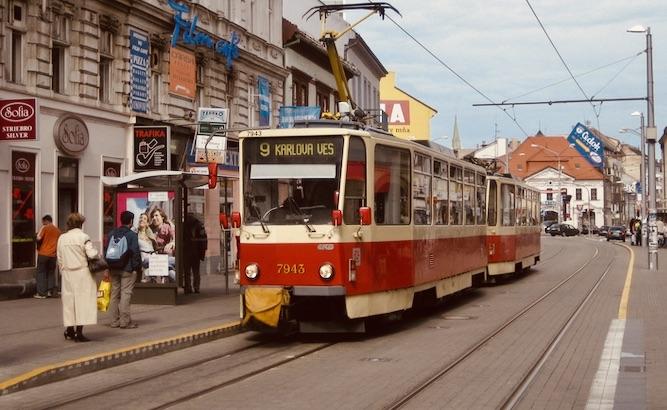 The number 9 Tram Obchodna Street Bratislava.