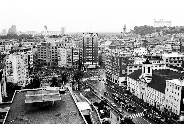 black and white photo Bratislava.