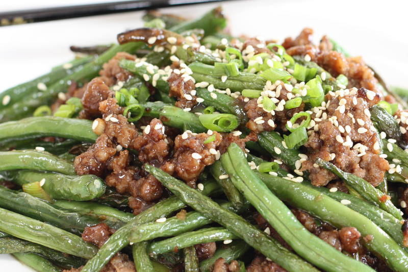Chinese runner beans and minced pork.