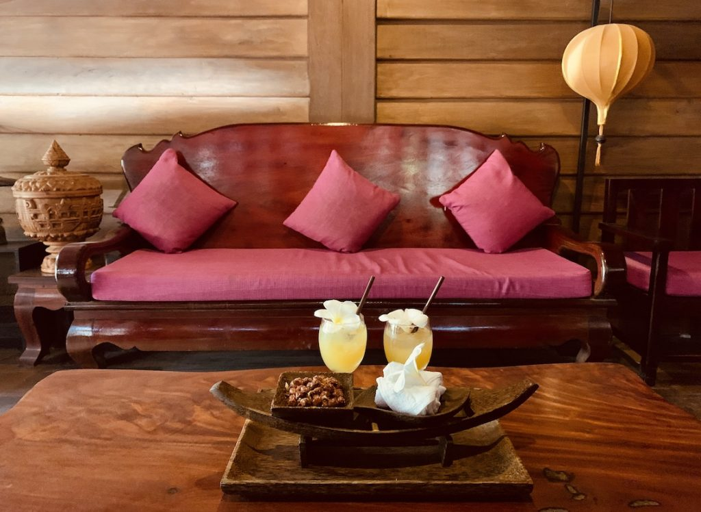 Welcome drinks Suon Angkor Boutique Hotel Siem Reap.