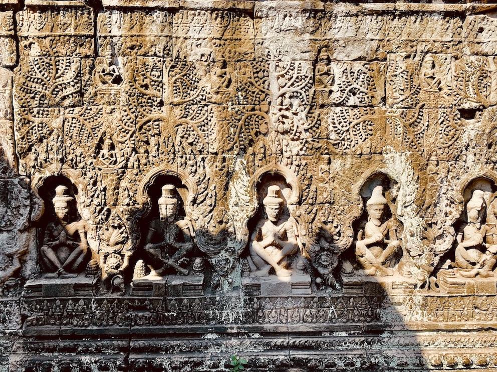 Ancient carvings Preah Khan Temple Cambodia.