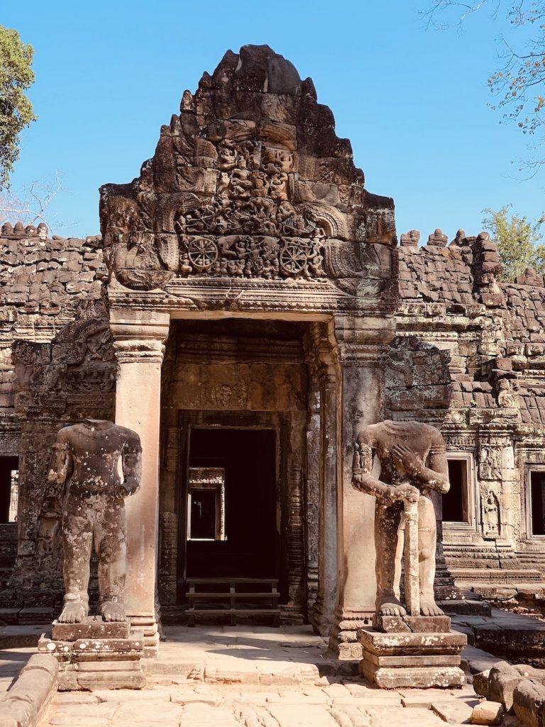 Headless statues Preah Khan Temple Cambodia.