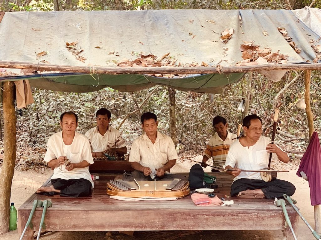 Traditional music Banteay Kdei Temple Siem Reap.