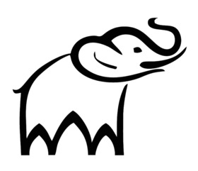 Cartoon elephant drawing.