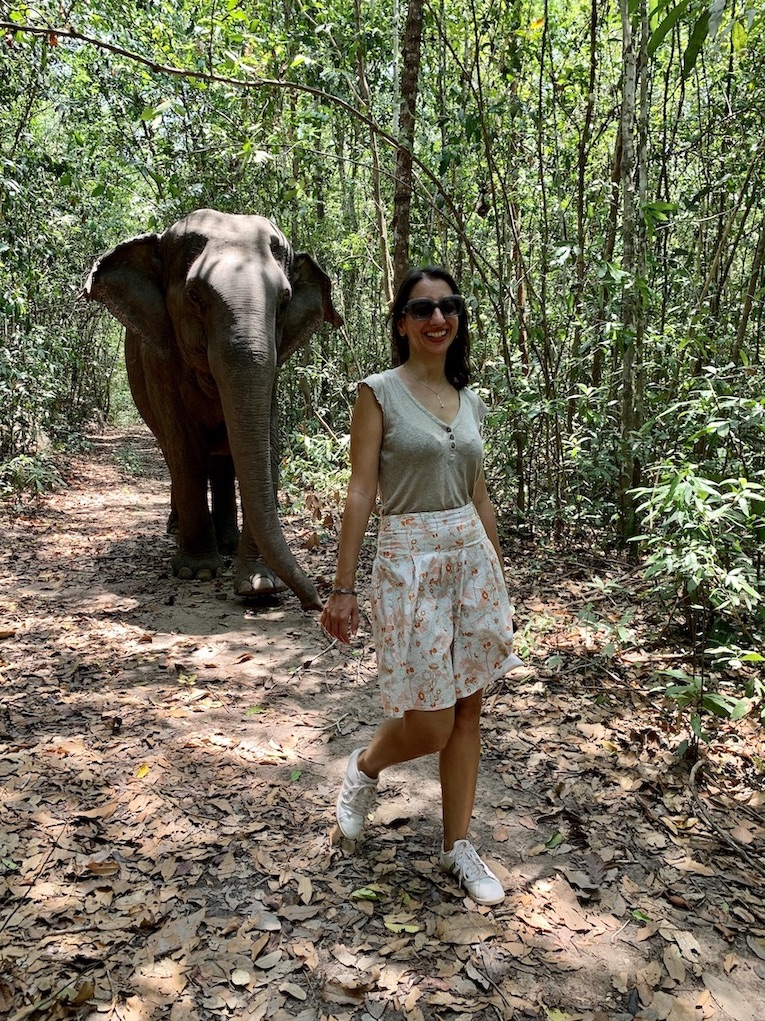 Hiking with elephants in Cambodia.