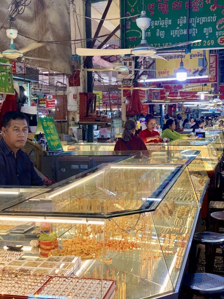 Jewellery stalls Psar Leu Market Siem Reap.