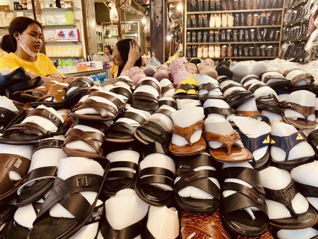 Shoe stall Psar Leu Market Siem Reap.