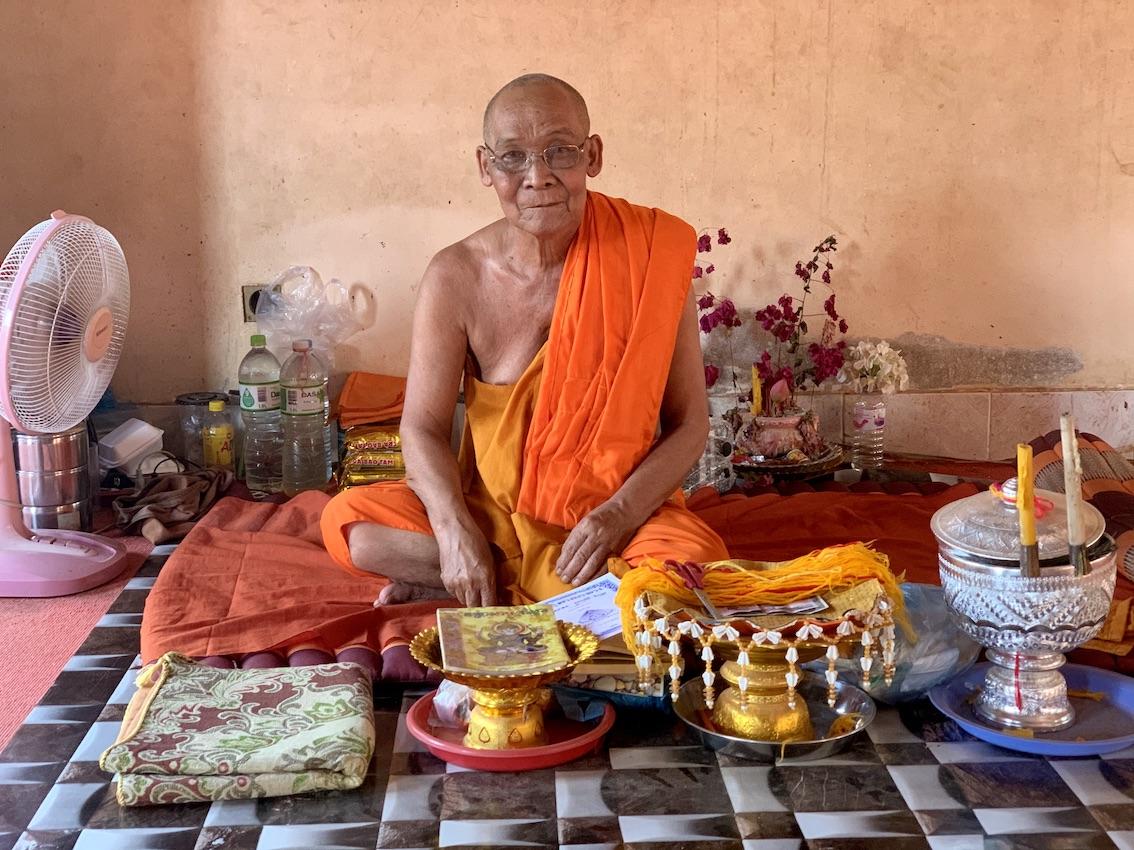 Buddhist monk Wat Thmey Pagoda Siem Reap.