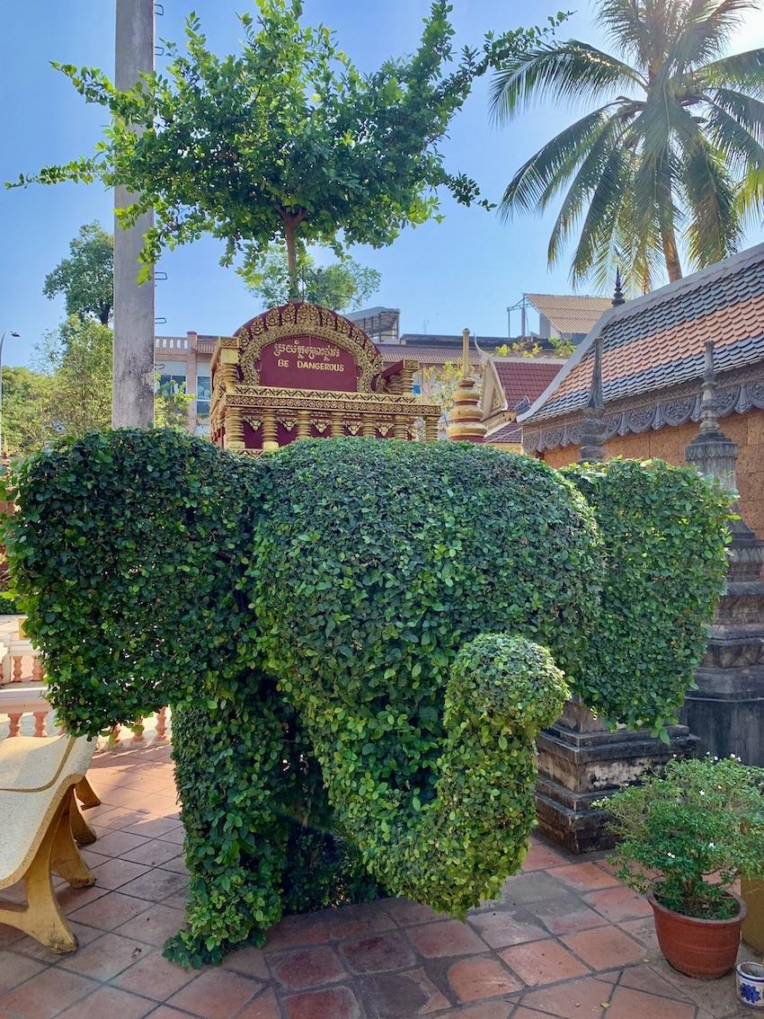 Elephant topiary Siem Reap.