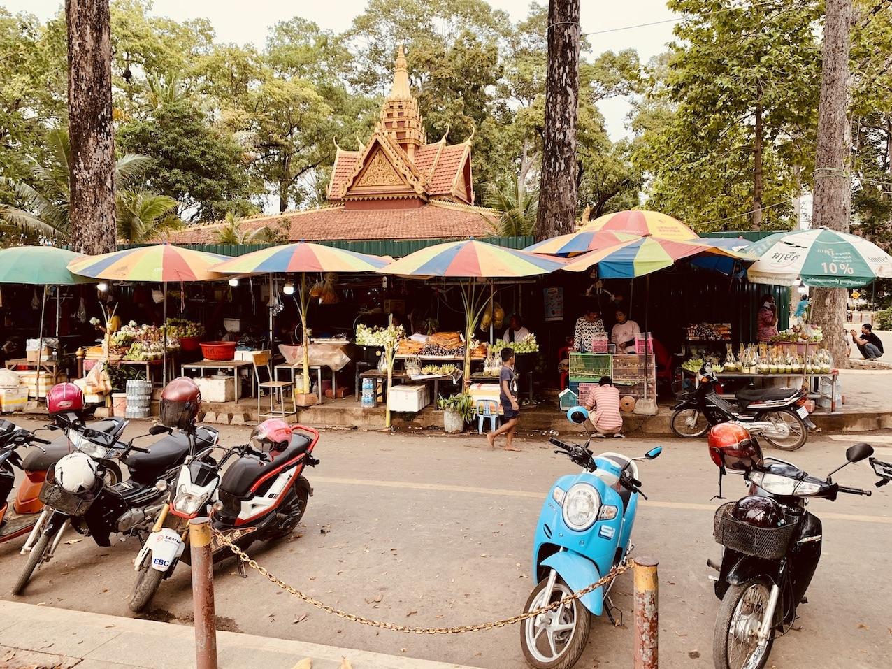 Fruit, vegetable and flower market Siem Reap.