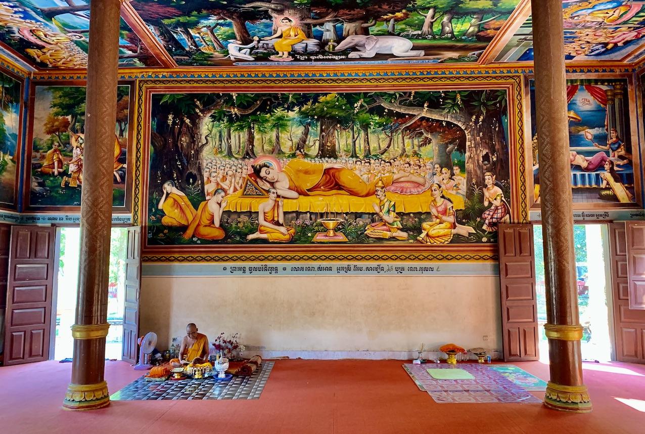 Inside Wat Thmey Pagoda Siem Reap.