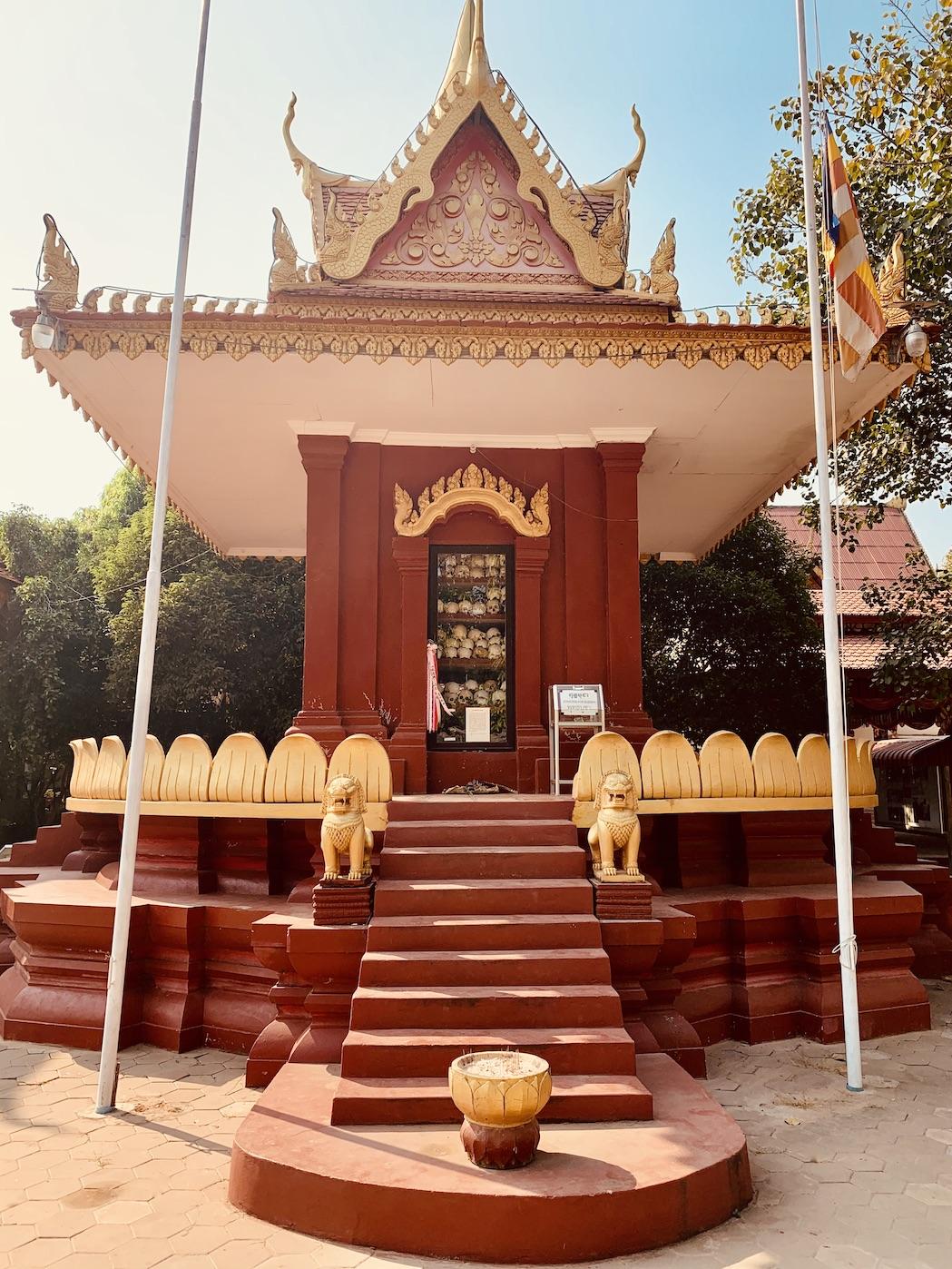 Killing Fields Memorial stupa Wat Thmey Pagoda.