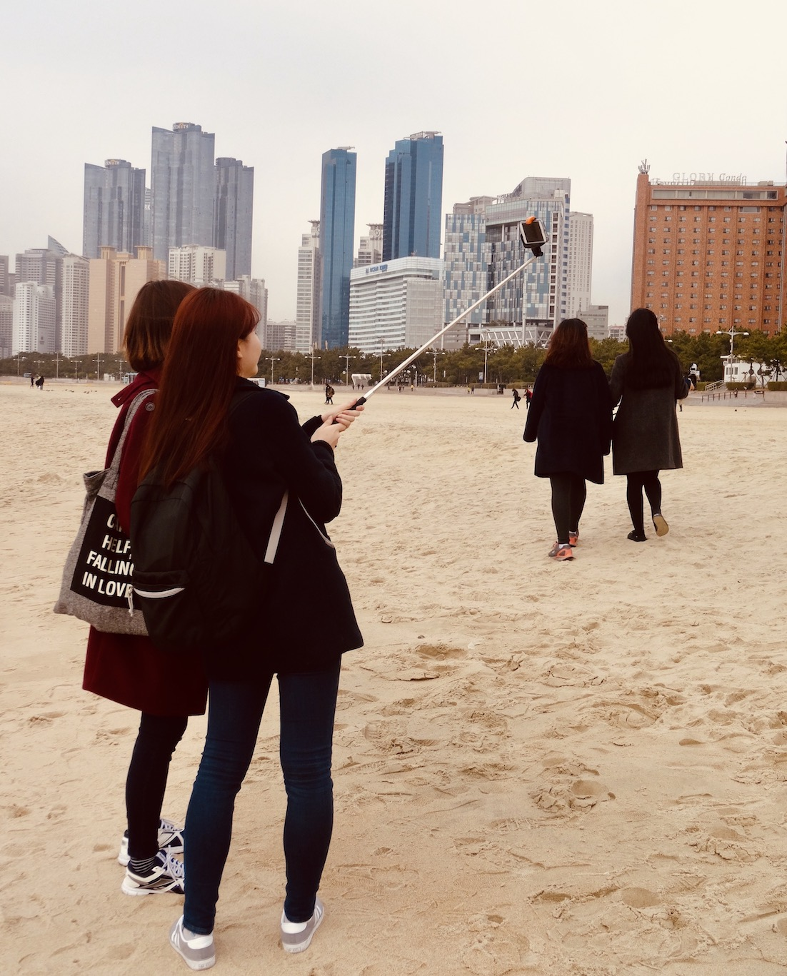 Selfie queens Haeundae Beach South Korea.