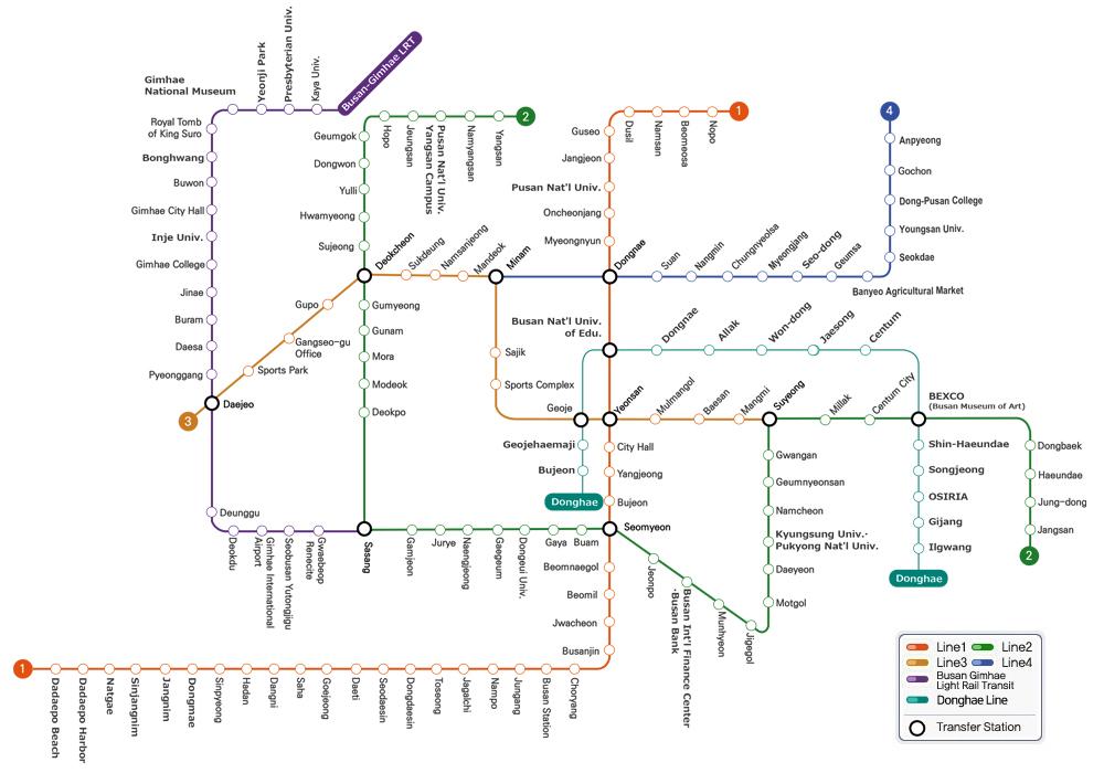 Busan metro map.