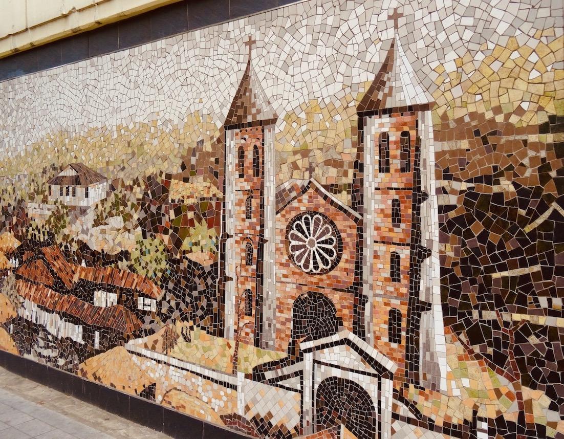 Daegu Catholic Church mosaic street mural.