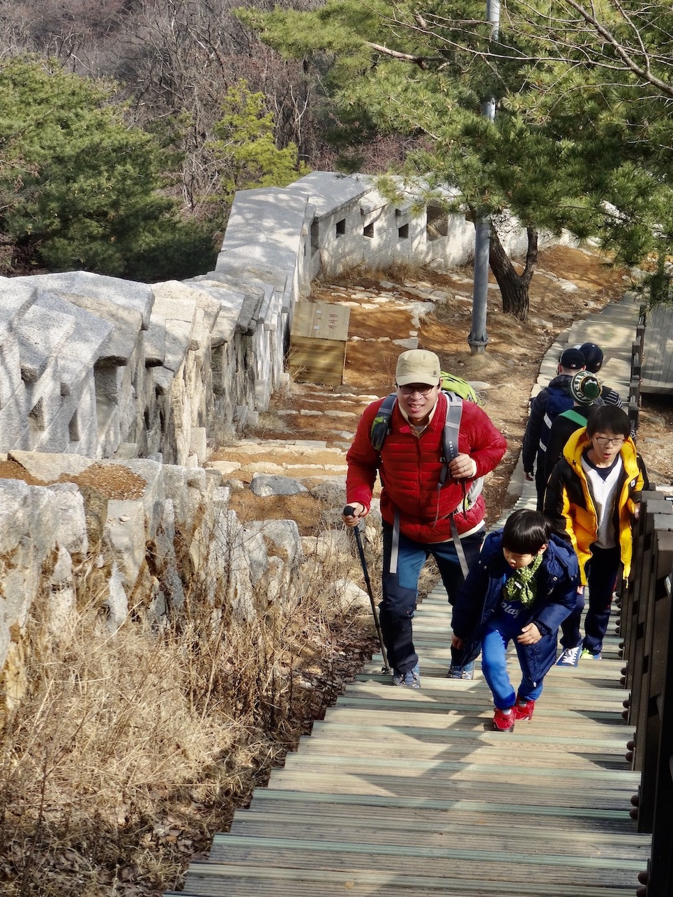 Hikers Ingwansan Mountain.