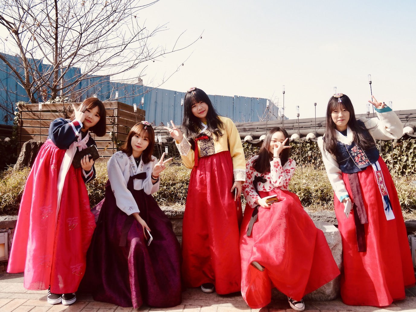Korean girls traditional Hanbok dresses Jeonju