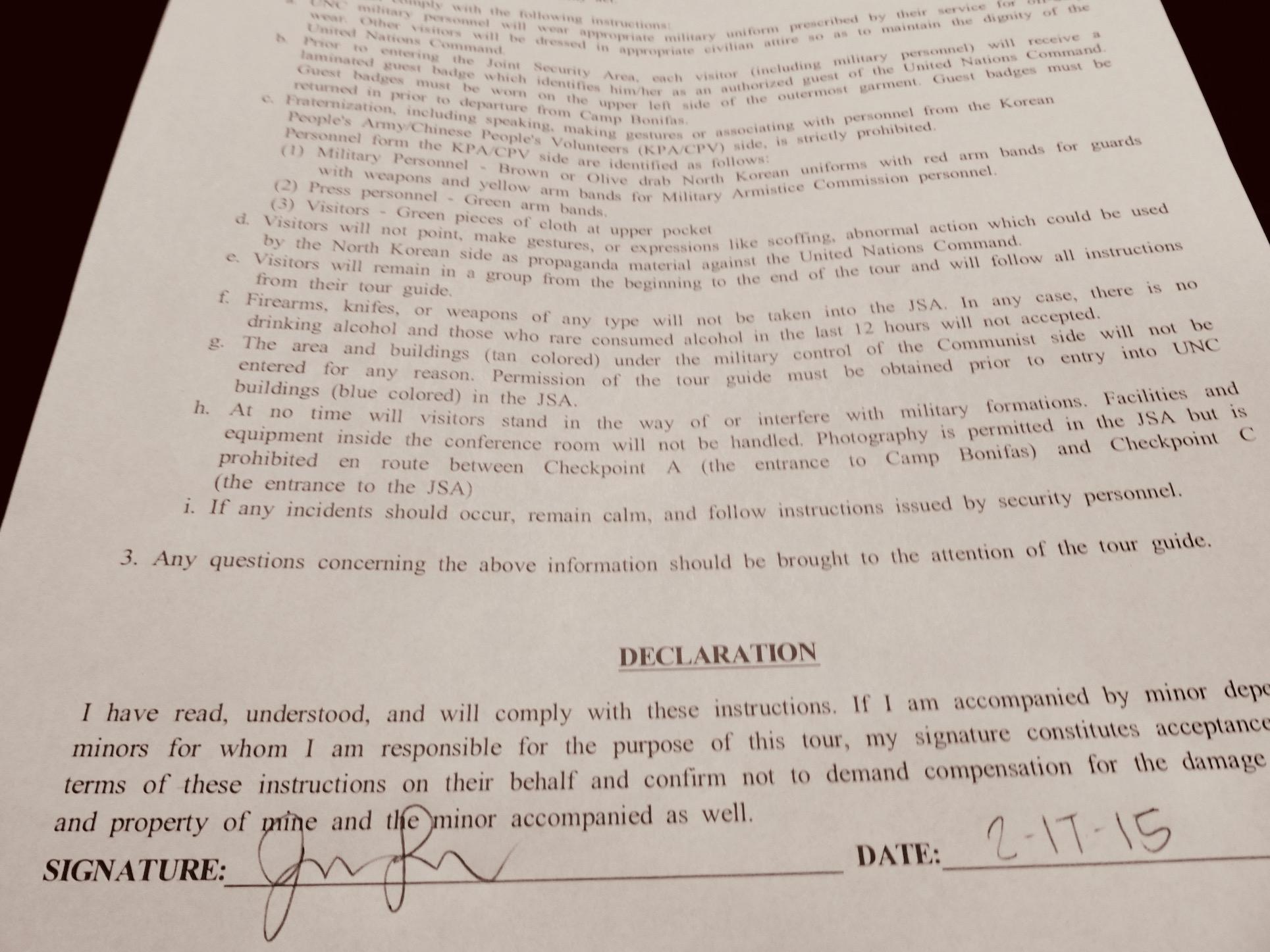No liability agreement DMZ Tour South Korea.