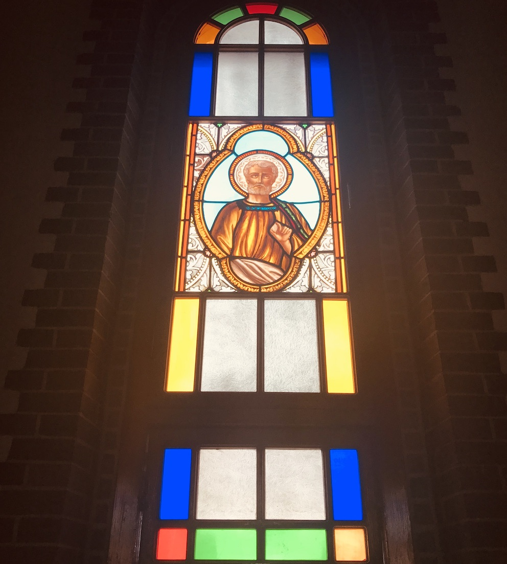 Stained glass window Our Lady of Lourdes Cathedral Daegu.